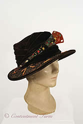 Gage Brothers Velvet Hat with Beaded Brim Circa 1915