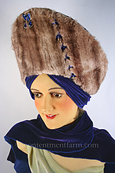 1940's Vintage Jeweled Velvet & Mink Hat
