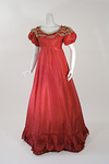 1820s Raspberry Silk Ball Gown with Rouleaux Trim