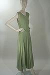 Elegant Silk Chiffon Tea Gown with Rhinestone Trim Circa 1930s