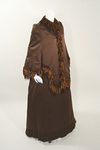 Stylish Victorian Silk & Velvet Day Dress with Matching Mantle