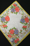 Charming Vintage Rose Printed Hanky w Basket