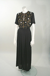 1940s Crepe Dinner Gown with Beaded Ornamentation