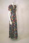 1930s Floral Silk Dinner Dress